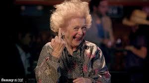 old lady giving finger